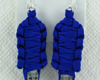 Paracord Mummy Earrings Royal Blue color the skulls glow in the dark