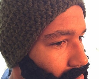 Chunky beard beanie, Mens crocheted beard beanie, Funny beanie with face warmer, gifts for guys, winter accessories, mens fashion