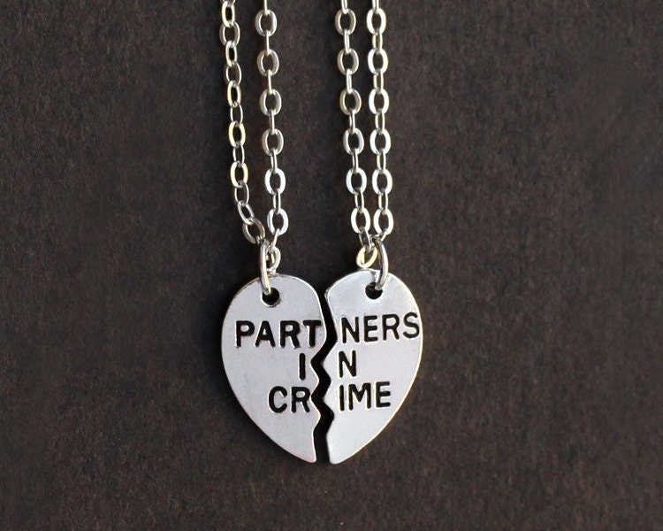 partners in crime necklace friendship necklace set by