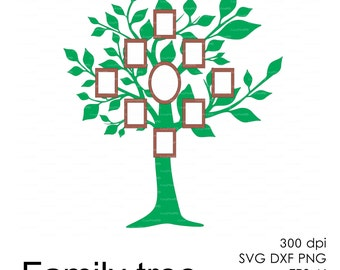 Family tree frame (svg, dxf, ai, eps, png) Clipart, Vectors, Overlays, Silhouettes, Digital Stamps Decal Vinyl Cameo