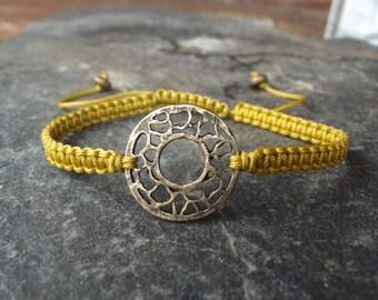 Antique Brass adjustable macrame bracelet