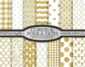 12 x 12 White and Gold Digital Scrapbook Paper: White and Gold Scrapbook Paper, Digital Polka Dot Background, Gold and White Polka Dot Paper