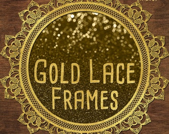 Gold Lace Frames Clipart: Gold Frame Clipart, Gold Clipart, Golden Lace, Gold Lace Overlay, Digital Gold Lace Graphic, Gold Digital Lace