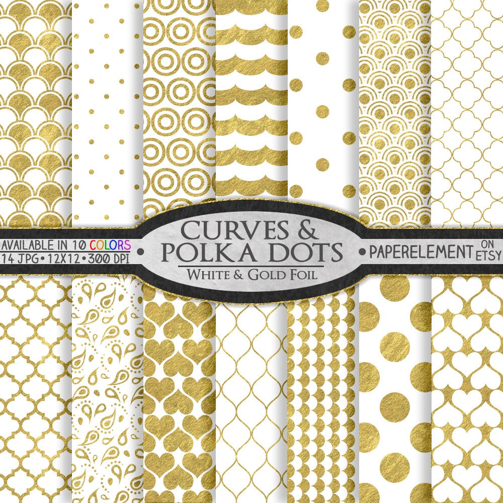 Scrapbook paper etsy - 12 X 12 White And Gold Digital Scrapbook Paper White And Gold Scrapbook Paper Digital Polka Dot Background Gold And White Polka Dot Paper