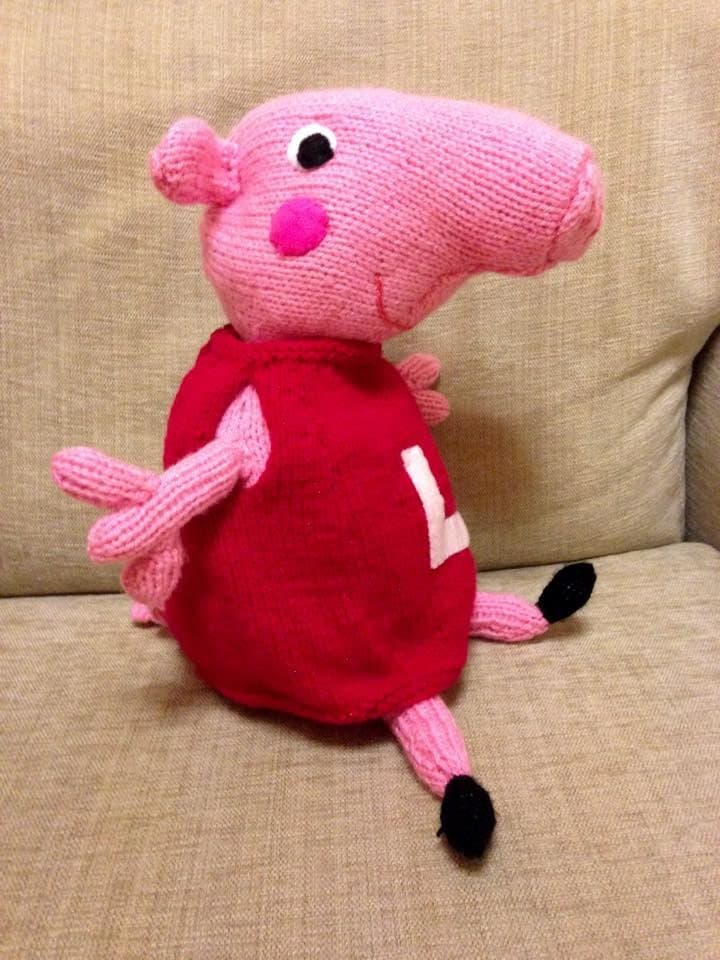 Knitting Patterns Peppa Pig Toys : Peppa Pig Hand Knitted Toy by HandKnittedToysJo on Etsy