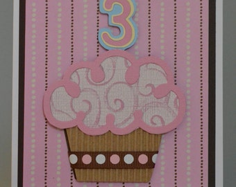 Cupcake Handmade Birthday Card-3 Year Old Birthday Handmade Card-Litte Girl Birthday Card