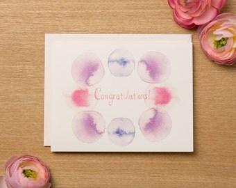 Set of 4 - Congratulations Greeting Card - Watercolour