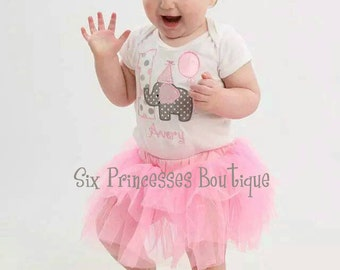 Birthday Girl Elephant Tutu Tulle Skirt Bodysuit Headband Pink Gray SET Party First Birthday Balloon Outfit OPTIONAL Matching Smash Cake Bib