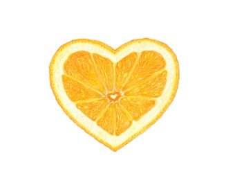 Orange slice - Botanical Hearts series  - Archival print of my colored pencil drawing