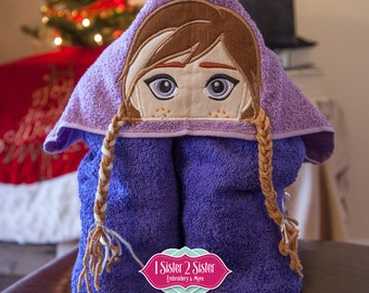 Hooded towel - The Ice Princess Hooded Towel Applique Inspired By Frozen's Anna