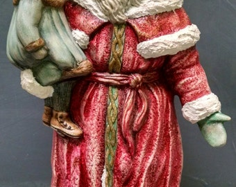 SALE!!!Victorian Santa with Girl -- Heirloom-quality handpainted ceramic Santa -- Christmas mantel decor