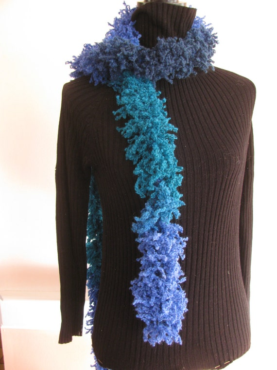 Ruffly fluffy hand knit scarf. by acornartsandcrafts on Etsy