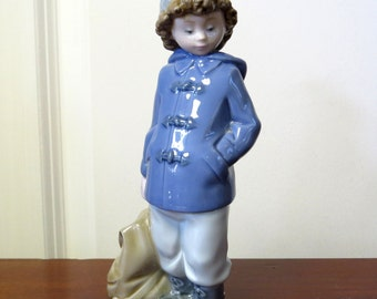 Vintage Nao by Lladro Boy with Duffle Bag Porcelain Figurine Collectible