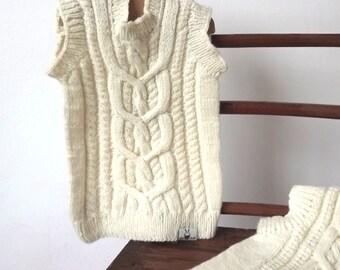 Merino wool knitted baby vest / White merino wool vest
