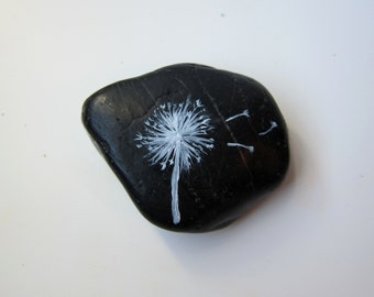 Painted Rock Miniature Garden Accessories - Make A Wish Dandelion Decor - Office Decoration Desk Decoration Nature Inspired Stone Garden Art