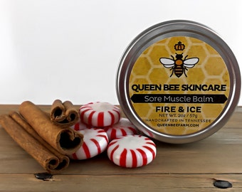 Sore Muscle Salve - FIRE & ICE - Medicinal Herbal Rub Balm - Peppermint Cinnamon Eucalyptus - Handcrafted Natural Body Skincare Product