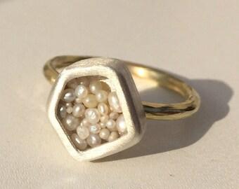 Akoya Keshi Pearl silver and GF ring akoyakesi Pearl pendant