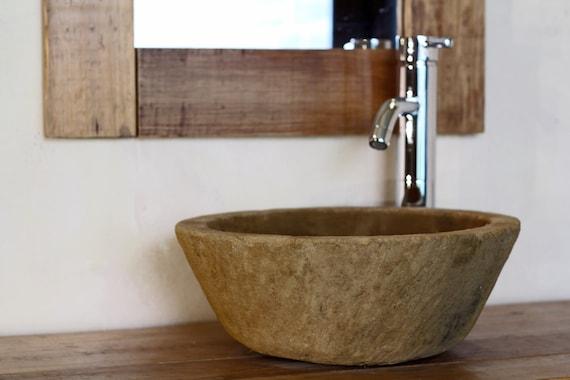 Carved Stone Sink : Imitation STONE SINK. Hand CARVED. Bathroom sink.