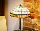 Tiffany simple lampshade. Small parasol lamp. Table lamp. Bedside nightstand lamp. Tiffany stained glass lamp.
