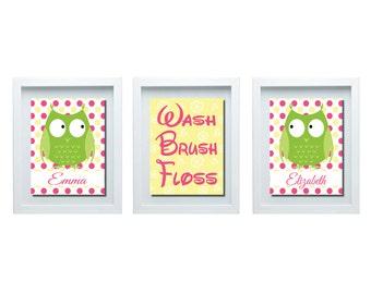 Sister Bathroom Decor, Owl Bathroom Decor, Owl Bathroom Rules, Owl Decor, Pink Yellow Green Decor, Girls Bathroom Decor, Bathroom Wall Art