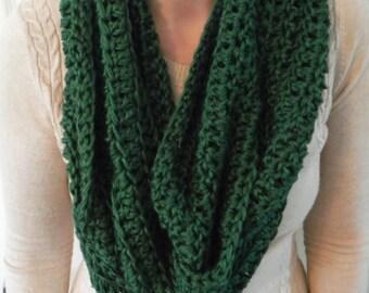 crochet chunky infinity scarf, handmade scarf, women's crochet scarf