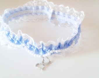 Garter, Blue, White, Lingerie, Lace, Ribbons, Bows, Plastic Pearls, Hand Crafted, Australian Made, Elegant, Romantic, Wedding, Accessories