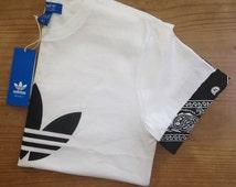 Unisex Authentic Adidas Originals Custom Cut & Sew urban paisley bandana Cuff Tee