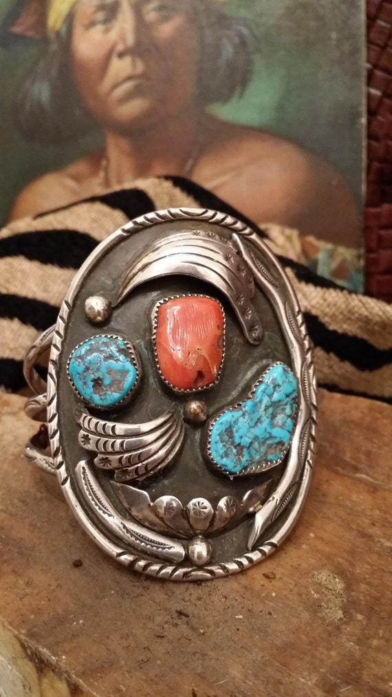 Vintage Navajo Native American Sterling Silver Turquoise and Coral Cuff Bracelet by Tommy Jackson