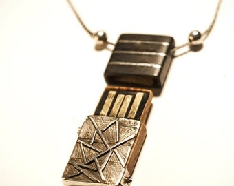Usb olive Burl ebony and silver pendant engraved