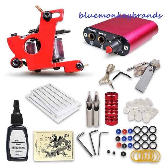 Beginner tattoo kit 1 machine gun power supply by for Tattoo machine for beginners