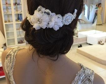 bridal lace hair comb - bridal hair comb - bridal lace headpiece - bridal headpiece - wedding - ivory
