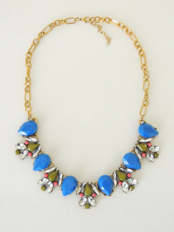 statement necklace bib necklace blue necklace by
