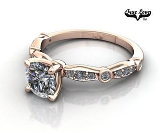 Moissanite Engagement Ring 14kt Rose Gold, Wedding Ring, Side Diamonds #6774