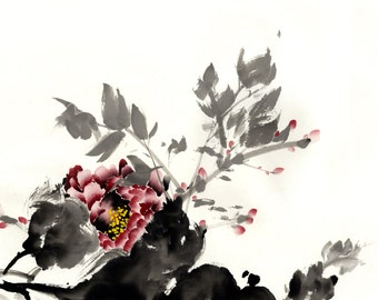 Chinese Watercolor Painting -  Peony