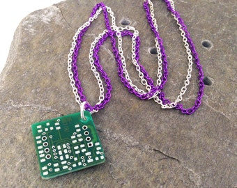 Purple Reclaimed Circuit Board Necklace Recycled Upcycled Amethyst and Silver Tone Double Chain 18""