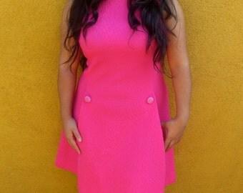 1960's Hot Pink Sleeveless Mod Dress