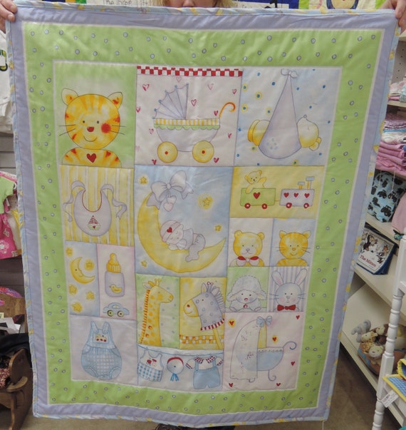 Baby moon panel of fabric girl boy cat by for Baby girl fabric