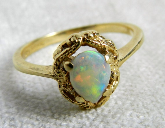 Vintage Engagement Ring Opal Engagement Ring Firey Opal set in