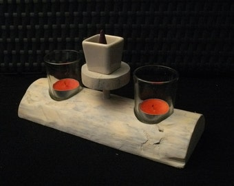wood effect support wood floats (candle and incense)