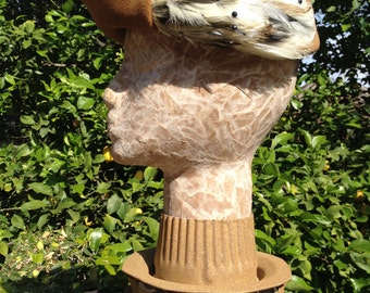 Brown Felted Pillbox With Feathers From Haggarty's Body Made In Italy By Carol