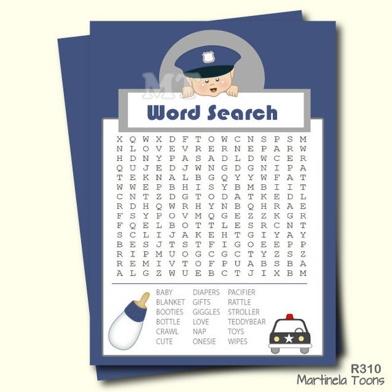 Police Baby Word Search Game Printable Baby Boy Shower
