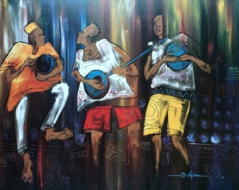 AFRICAN MUSICIAN by Buchi Upjohn Aghaji Lithograph 1991 Printed in USA ,Arthur A.Kaplan New York City,Afro-Centric Painting Print,Music Art