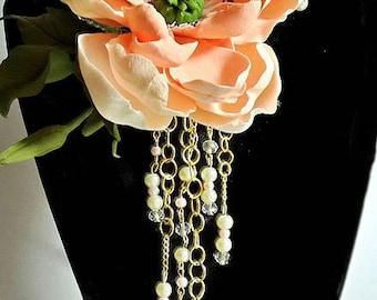 Peachy anemone cold porcelain Flower Necklace, elegant jewelry, unique necklace