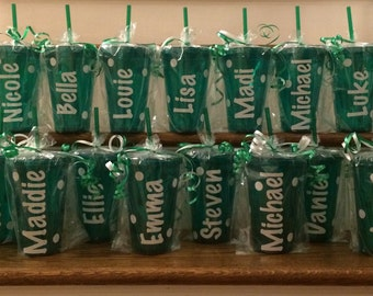 Personalized Party Favors! 10 Polka Dot Tumblers with Any Name in Any Color! Bulk Discount!