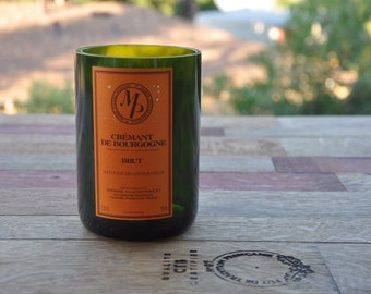 Recycled/Upcycled Wine Bottle Candle (Soy) Cremant De Bourgogne