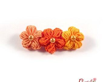 Anemone Trio Crochet  Flower Brooch/Orange/Peach/Yellow/Brooch/ /Handmade/Flower/Accessories/Costume accessories