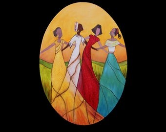 Dancing peoples  oil on canvas oval 27.58X19.70 women colors ethnic. Artist Cecile Dossogne.Human figures colorful suggestive