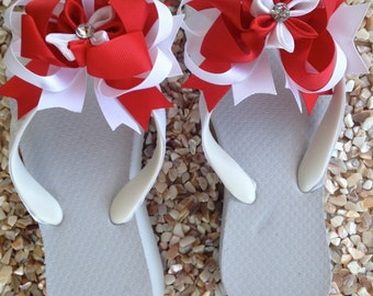 White Ribbon Embellished Flip Flops with Red and White Bow