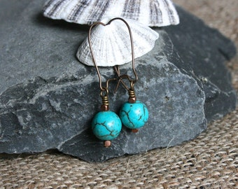 Athens earrings, turquoise earrings, turquoise jewelry, boho earrings, bohemian jewelry, modern earrings, brass earrings, drop earrings
