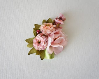 Rose Boutonniere Groom Groomsmen Wedding Flower, Rose and Pearl Accent - Rustic Wedding Boutonnieres
